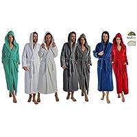 Naturawalk Lange of extra lange badjas voor dames en heren, van 100% biologisch katoen, met capuchon in 5 kleuren, S tot XXXXL, kleur wit, 140 cm, maat XXL