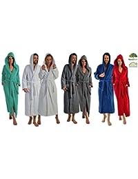Lange oder extra lange Damen und Herren Bademäntel aus 100% BIO Baumwolle mit Kapuze in 5 Farben, S bis XXXXL Grösse L, Farbe anthrazit 140 cm