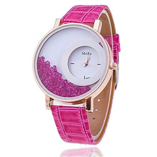 Skylofts Ladies Leather Rhinestone Bracelet Wristwatch for girls (Pink)