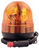 Halogen Rundumleuchte Orange, Ei-Form Mit Magnetfuß, Blinkleuchte 12V 24V, ECE R65 Straßenverkehr Zulassung, KFZ Warnleuch