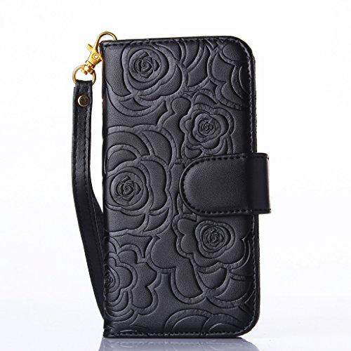 iPhone 5C Case, jgntjls embossing-camellia, Filp PU Pelle Card Slot Portafoglio per Apple 4.0 Black,#6