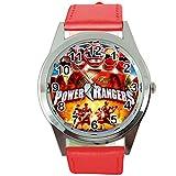 TAPORT Power Rangers Montre à Quartz Ronde avec Bracelet en Cuir Rouge + Batterie de...