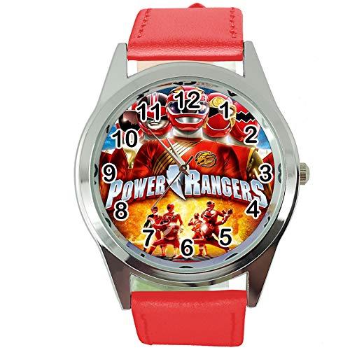 Reloj Redondo de Cuarzo con Correa de Piel roja + batería de Repuesto + Bolsa