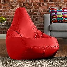 Hi-BagZ® Sillón tipo puf con respaldo alto para exteriores- Puf para el jardín COLOR ROJO - 100% impermeable
