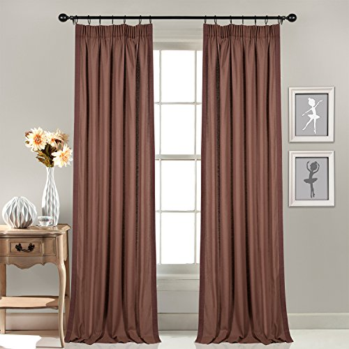 Deco Window 1 Piece Pleated Curtain Gaurika Chocolate 48