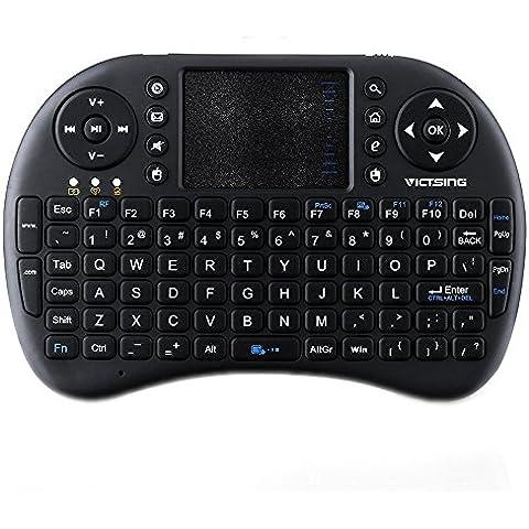 VicTsing 2.4 GHz Mini Tastiera Wireless Ergonomica con Mouse Touchpad con 92 Pulsanti Tastiera QWERTY, (Desktop Box)