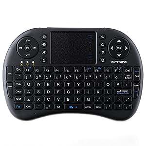 VicTsing 2.4 GHz Mini Tastiera Wireless Ergonomica con Mouse Touchpad con 92 Pulsanti Tastiera QWERTY, Telecomando per Android TV Box, X-Box, Desktop, Laptop, PC, TV per Auto, HTPC, TV con Grande Schermo, Smart TV ecc, Alimentato da 2 Batterie agli Ioni di Litio (non Incluse), Compatibile con Windows, Mac OS, Linux, Sistemi Android, Nero