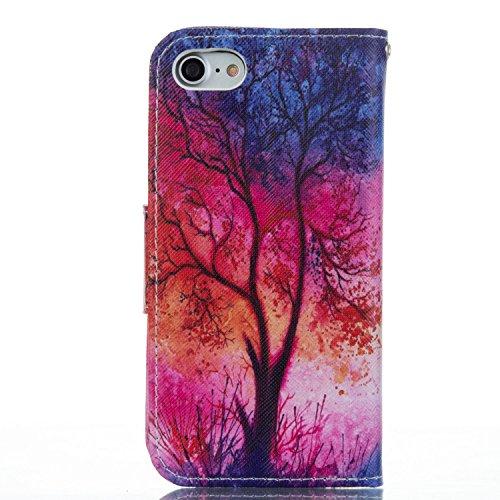 Voguecase Pour Apple iPhone 7 4,7 Coque, Étui en cuir synthétique chic avec fonction support pratique pour Apple iPhone 7 4,7 (forêt 02)de Gratuit stylet l'écran aléatoire universelle Un grand arbre 05