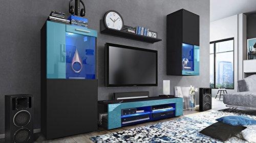 Wohnwand Anbauwand Movie, Korpus in Schwarz matt / Fronten in Schwarz matt und Petrol Hochglanz mit blauer LED Beleuchtung (Regal Schrankwand)
