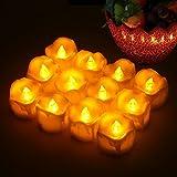 LED Kerzen, Led Teelichter 12pcs LED Flammenlose Kerzen mit Timerfunktion Batterien CR2032, Flackern Elektrische Kerze Lichter Dekoration für Weihnachtsbaum Ostern Hochzeit(Flicker Gelb)
