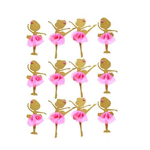 AMZTM Gold Glitter Ballerina tanzen Mädchen Kuchen Cake Cupcake Topper, 12 Stücke Dekorationen für die Hochzeit Brautdusche und Geburtstagsfeier (Gold)