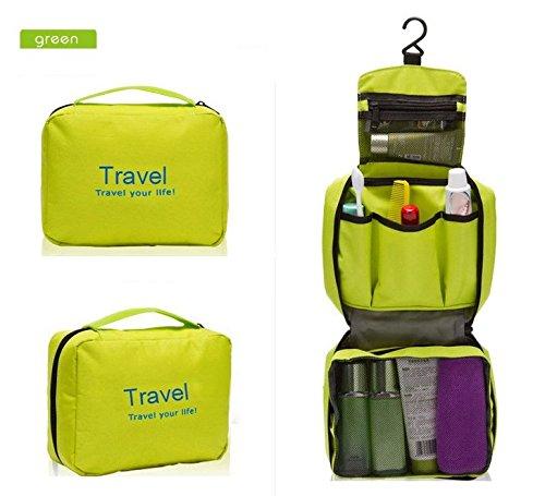 EQLEF® Kosmetikum Bade Tasche, Wasserdicht Spielraum-Toilettenartikel Kosmetik Make-up Badezimmer Badewanne Camping Wandern Beutel-Organisator grün