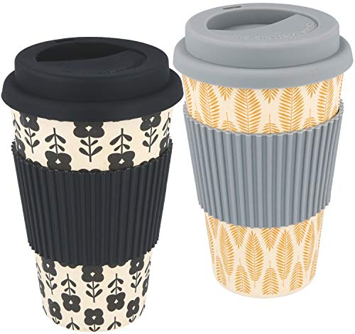 com-four® 2X Coffee to go Taza de bambú, Taza Biodegradable (Gris Oscuro/Negro)
