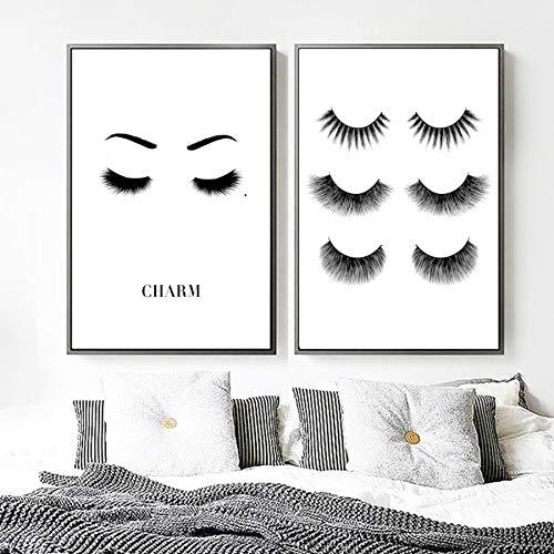 XWArtpic Augen Wimpern Wimpern Sexy Mode Mädchen Wandkunst Leinwand Malerei Nordic Poster Und Drucke Wandbilder Für Wohnzimmer Decor C 60 * 100 cm * 2 stücke
