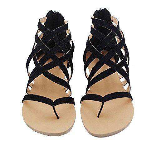 Damen Ethnische Art Keil Sandale Sommerschuh Bunt Strand Schnallenverschluss Lässig Niedrige Mittlere Ferse - Damen Open Schwarz Kleid Toe Schuhe