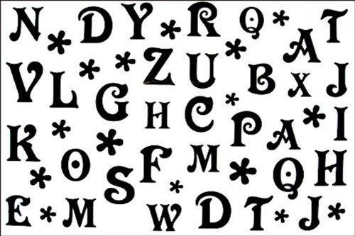 Autocollant de tatouage de mode masculine étanche et modèles féminins en noir et blanc 26 lettres de l' alphabet tatouage temporaire