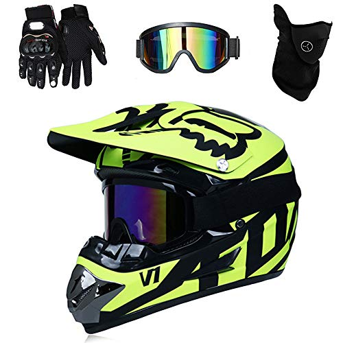 PKFG DH Casques Motocross Homme, Série HM-715 Off-Road Casque de Moto Cross Country Femme Sport Bicyclette Casque de Motocross VTT BMX Casque avec Lunettes/Gants/Masque,YellowBlack~L