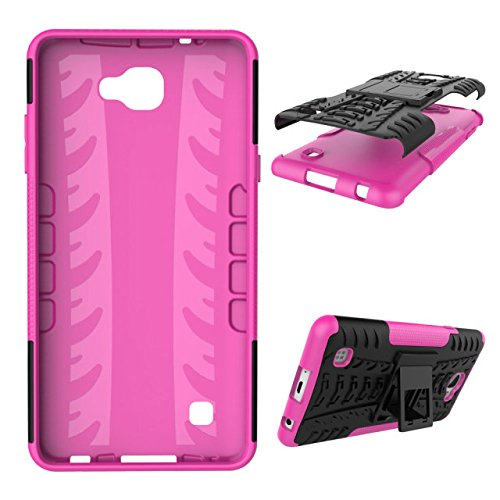 YHUISEN Hyun Pattern Dual Layer Hybrid Armor Case Abnehmbar Kickstand 2 In 1 Shockproof Tough Rugged Case Cover für LG X Max ( Color : Orange ) Pink