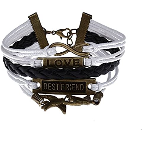 Pulsera Brazalete Metal Cuerda de Cuero Color Blanco Negro para Mujer Moda