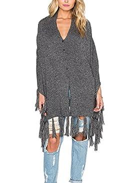 La Mujer Casual Borlas Frente Abierto Solid V Neck Cardigan Sweater