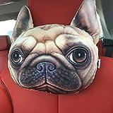 HUPLUE 3D Hund/Katze Auto Kopfkissen Animal Reise Hals Kopfstütze Ornaments Auto-Dekoration Home Emoji-Kissen mit Bambus anthrazit #6