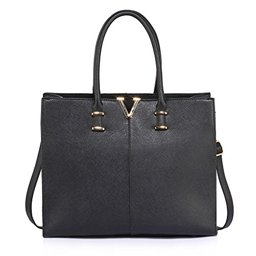 LeahWard® Damen Groß Mode Essener Berühmtheit Tragetaschen Damen Qualität Schnell verkaufend Modisch Handtaschen CWS00319B CWS00319C CWS00319 (Schwarz V) (Klassische Chloe Handtasche)