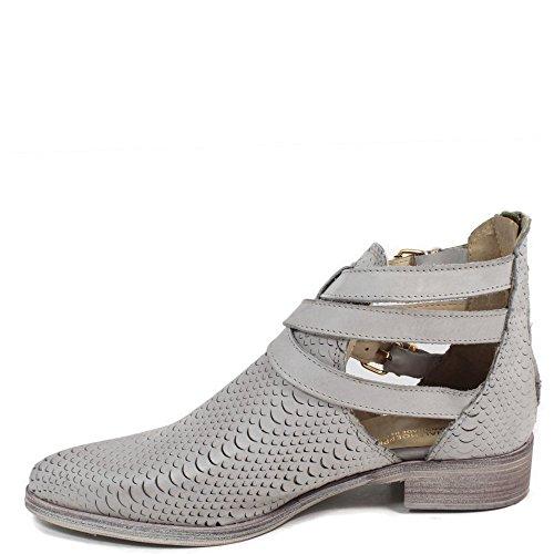 Stivali Stivaletti Cut Out Boots Vera Pelle Grigio 0033 Personal Shoepper Made in Italy Grigio