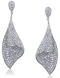 Bling Jewelry CZ Pave Bridal Chandelier Earrings Rhodium Plated Brass