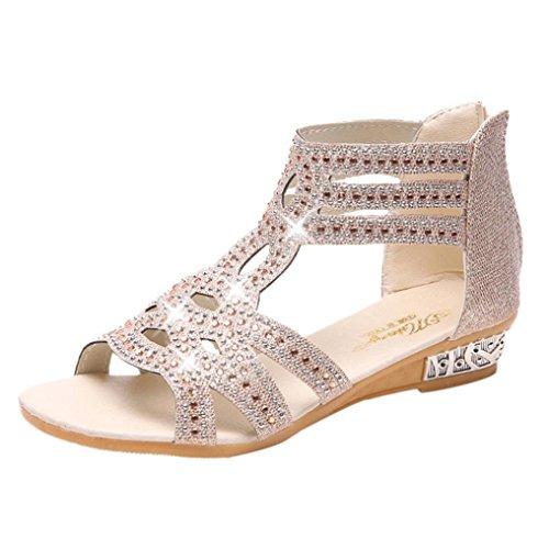 Sandales Femmes Ete Ansenesna Pansements Mesdames Tête de Poisson Strass Creux Sandales Romaine Chaussures