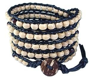 LUN NA Asiatique Bracelet Wrap Fait Main 100% Perles en Bois Couleur Blanc à Partir de la Thaïlande