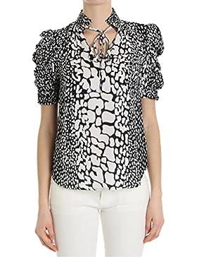 Michael Kors Camisa EN Seda Blanca y Negra con Motivo RIZADO