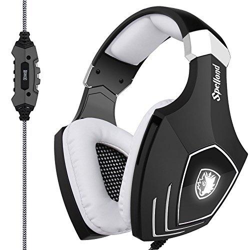 SADES New Arrival A60USB Gaming Headset Computer über Ohr Stereo Kopfhörer mit Mikrofon Geräuschunterdrückung Lautstärkeregler LED Licht (Schwarz + Weiß) für PC & Mac (Klare 10 Lichter, Draht Weißes)