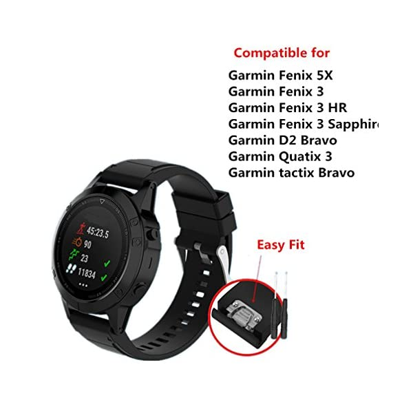 Meiruo 26mm Width Quick ReleaseWristband Strap For Garmin Fenix 5X Garmin Fenix 3 Garmin Fenix 3 HRGarmin Fenix 3 SapphireGarmin D2 BravoGarmin Quaitx 3 Garmin Tactix Bravo