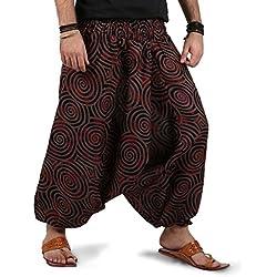 The Harem Studio Hombre Mujer Pantalones harem unisex bombachos ligeros, hippies, de algodón, casuales, boho, hechos a mano para Yoga - Estilo Spiral (Marrón)