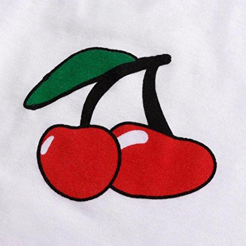 T-shirt donna Vovotrade Moda senza maniche di stampa della ciliegia di modo bianca