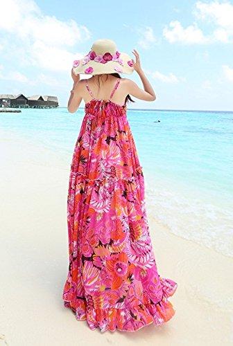 Smile YKK Femme Robe Peplum Floral Chiffon Slim Design Beauté Rose