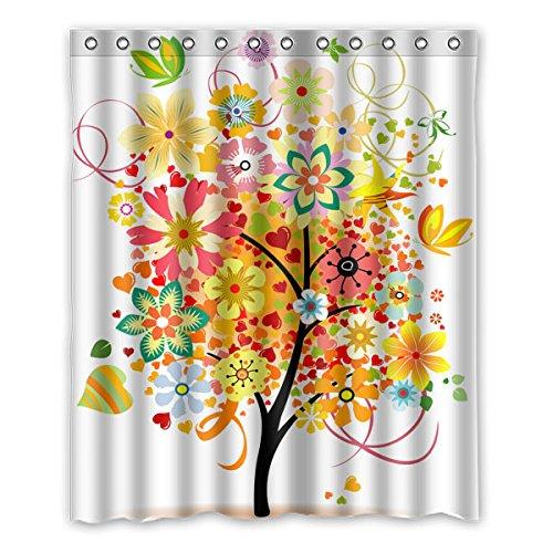 """152 cm x 183 cm (60 """"x72"""") Bagno Doccia Tenda, Cartoon colore di sfondo mosaico dell'albero Custom Design Tenda della doccia"""