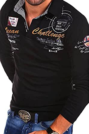 MT Styles Langarm Poloshirt OCEAN Pullover R-0740 [Schwarz, S]