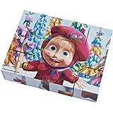 Masha y el Oso - Puzzle de cubos madera, color blanco / rosa / marrón / verde / amarillo / morado / azul (Simba 9304088)
