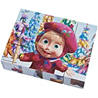 Masha y el Oso Puzzle de cubos madera, color blanco/rosa/marrón/verde/amarillo/morado/azul (Simba 9304088)