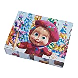Masha and the Bear - Cubes Wood Puzzle, Color White / Pink / Brown / Green / Yellow / Purple / Blue (Simba 9304088)