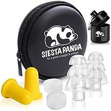 Siesta Panda Juego de 12 Tapones para Oídos [ 4 Anti Ruido , 4 de Silicona Moldeable y 4 de Alta Fidelidad ] con Correa , Caja Llavero de Aluminio y Estuche Portátil