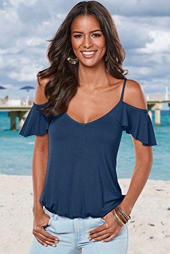 Aleumdr Damen Top Kalt Schulter Rückenausschnitt V-Ausschnitt ärmellos mit Trägern Volant Bluse Shirt T-shirt Blau