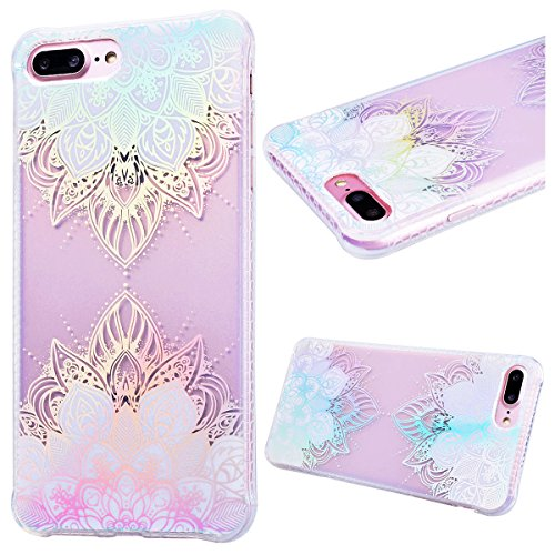 Custodia iPhone 7/iPhone 8, GrandEver Flessibile Ultra Slim Trasparente Gel TPU Silicone Anti Graffio Anti Scossa Anti Scivolo Protettiva Bumper Cover Case per iPhone 7/iPhone 8 - Foglia di albero Loto