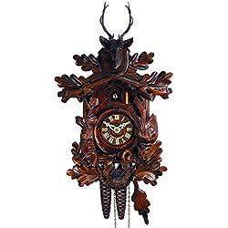 Schwarzwälder Kuckucksuhr/Schwarzwald-Uhr (original, zertifiziert), Jagd-Stück, Hirsch-Kopf/Geweih, Jäger, Horn, 1-Tag-Werk, mechanisch