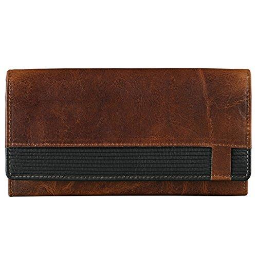 Stilord portafoglio vintage da donna in pelle con portamonete con cerniera borsellino in cuoio portafogli, marrone