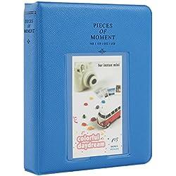 Woodmin 64 Tasche Album foto fotografico per 3 pollici Immagini di Fujifilm Instax Mini, Snap, Zip, Z2300, Carta bancaria, Libro namecard Business (Profondo blu)