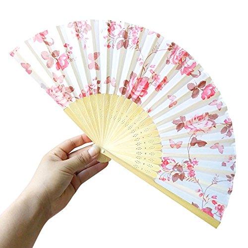 Andouy Retro Faltfächer/Handfächer/Papierfächer/Federfächer/Sandelholz Fan/Bambusfächer für Hochzeit, Party, Tanzen(21cm.P)