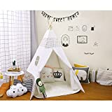 Kinder Zelt Holz Pol Zelt Baumwolle Canvas Indoor Indoor Indoor Zelt(Design-grid)