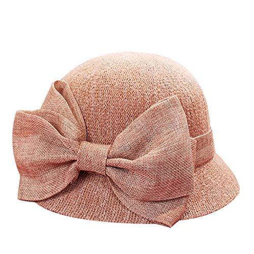 2019 Sommer Mode Frauen Sonne Hüte, Weibliche Band Bogen-Knoten Breiter KrempeHand Made Stroh Hut Strand Hut Casual Schatten Anti UV Kappe (Rosa, 1 Stück)